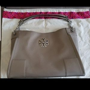 Tory Burch Britten Patent Leather Slouchy Tote